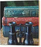 Vintage Binoculars And Books Wood Print