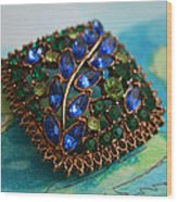 Vintage Blue And Green Rhinestone Brooch On Watercolor Wood Print