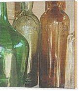 Vintage Bottles Wood Print by Georgia Fowler