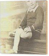 Vintage Boy Crossed Leg Wood Print