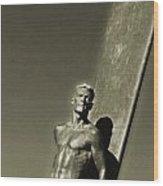 Vintage Bronze Surfer Wood Print