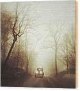 Vintage Car On Foggy Rural Road Wood Print by Jill Battaglia