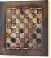 Vintage Checkers Game Wood Print