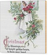 Vintage Christmas Blessings Wood Print