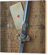 Vintage Dagger On Wood Table With Playing Card Wood Print