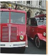 Vintage Fire Truck Duo Wood Print