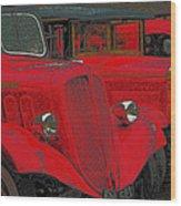 Vintage Fire Truck Techno Art Wood Print