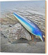 Vintage Fishing Lure - Floyd Roman Nike Blue And White Wood Print