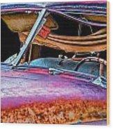Vintage Frazer Front Window Auto Wreck Wood Print