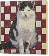 Vintage French Bistro Cat Wood Print by Flo Karp