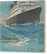 Vintage French Line Travel Poster Wood Print