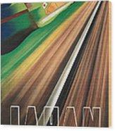 Vintage Japanese Government Railways Poster Wood Print