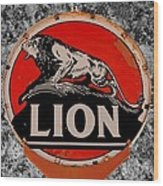 Vintage Lion Oil Sign Wood Print