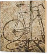Vintage Looking Bicycle On Brick Pavement Wood Print