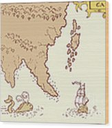 Vintage Map Treasure Island Tall Ship Whale Wood Print