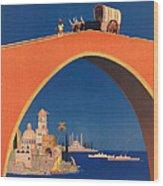 Vintage Mediterranean Travel Poster Wood Print