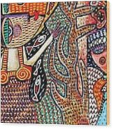 Vintage Mermaid And Wisdom Coral Angel Wood Print