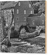 Vintage Mill In Black And White Wood Print