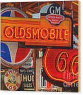 Vintage Neon Sign Oldsmobile Wood Print