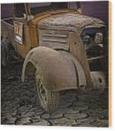 Vintage Pickup On Parched Earth Wood Print