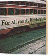 Vintage Pittsburgh Trolly Wood Print