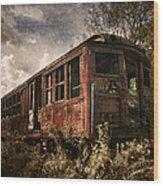 Vintage Rail Car Wood Print