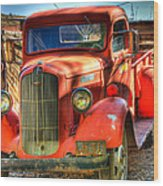 Vintage Red Dodge Wood Print