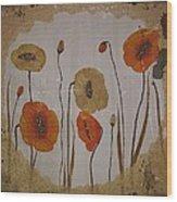 Vintage Red Poppies Painting Wood Print