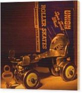 Vintage Roller Skates Wood Print