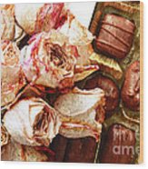 Vintage Roses And Chocolates Painterly Wood Print