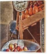 Vintage Scale At Fruitstand Wood Print