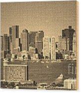 Vintage Style Boston Skyline 2 Wood Print