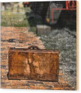 Vintage Suitcase By Train Wood Print
