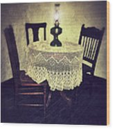 Vintage Table And Chairs By Oil Lamp Light Wood Print