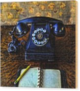 Vintage Telephone And Notepad Wood Print