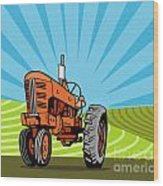 Vintage Tractor Retro Wood Print by Aloysius Patrimonio