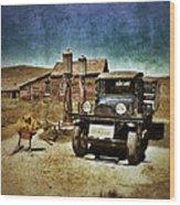 Vintage Vehicle At Vintage Gas Pumps Wood Print by Jill Battaglia