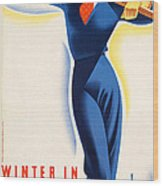 Vintage Winter In Austria Travel Poster Wood Print