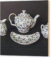 Viola Teapot With Creamer And Sugar Bowl Wood Print