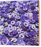 Violet Beads And Sequins Wood Print
