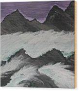 Violet Raging Waters Wood Print