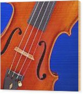 Violin Isolated On Blue Wood Print