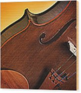 Violin Isolated On Gold Wood Print