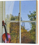 Violin On A Window Sill Wood Print