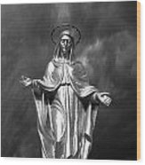 Virgin Mary And The Thunderstorm Bw Wood Print