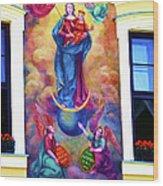 Virgin Mary Mural Wood Print