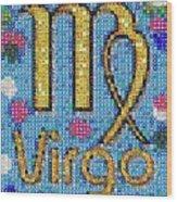 Virgo Zodiac Mosaic Wood Print