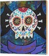 Viva Los Muertos Bat Wood Print