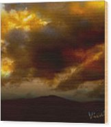 Vivachas Golden Hour Sunset Glowing Clouds  Wood Print