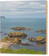 Volcanic Rock Formations In Ballintoy Bay Wood Print
